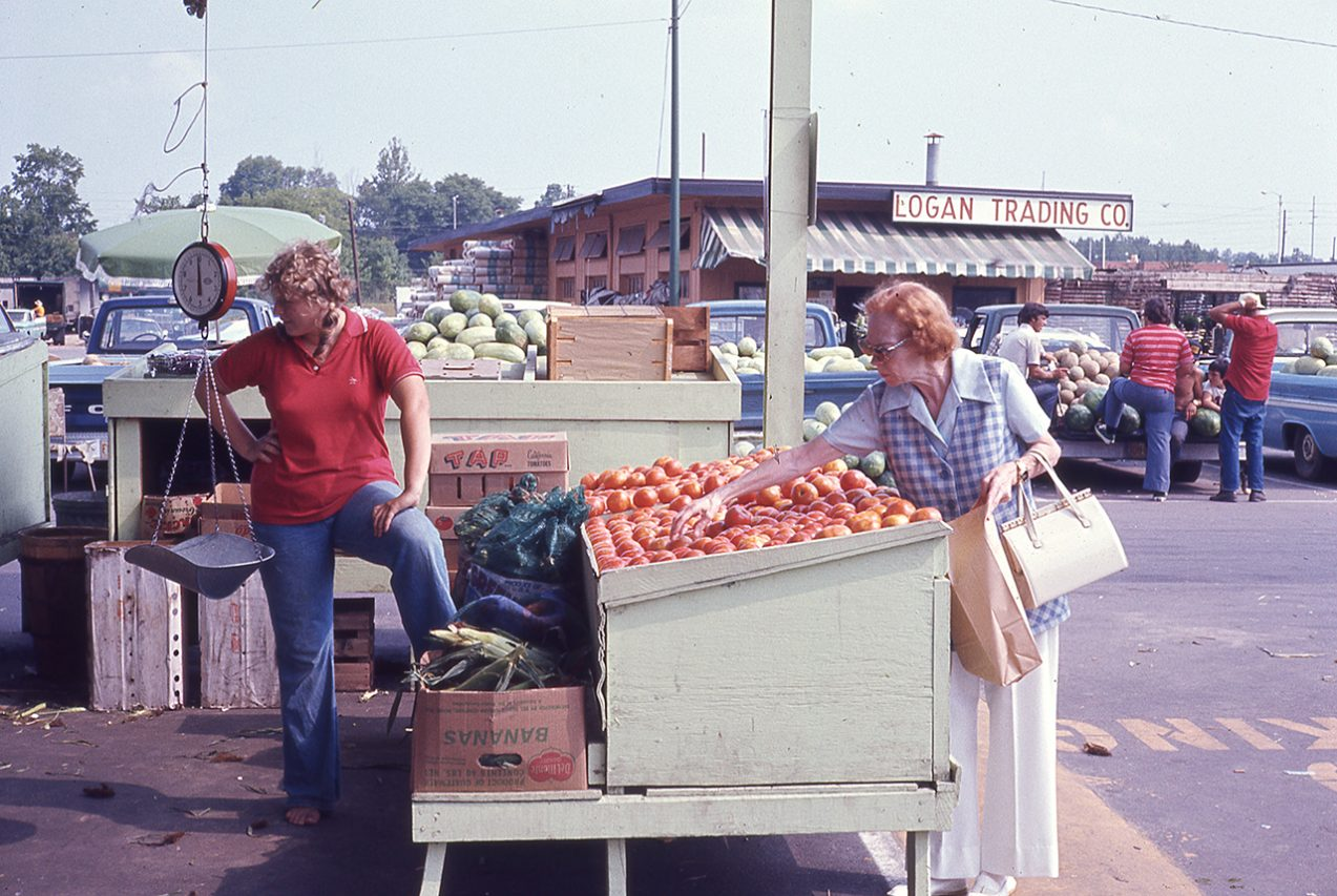 Produce stand, Farmers' market, Raleigh, North Carolina, 1975