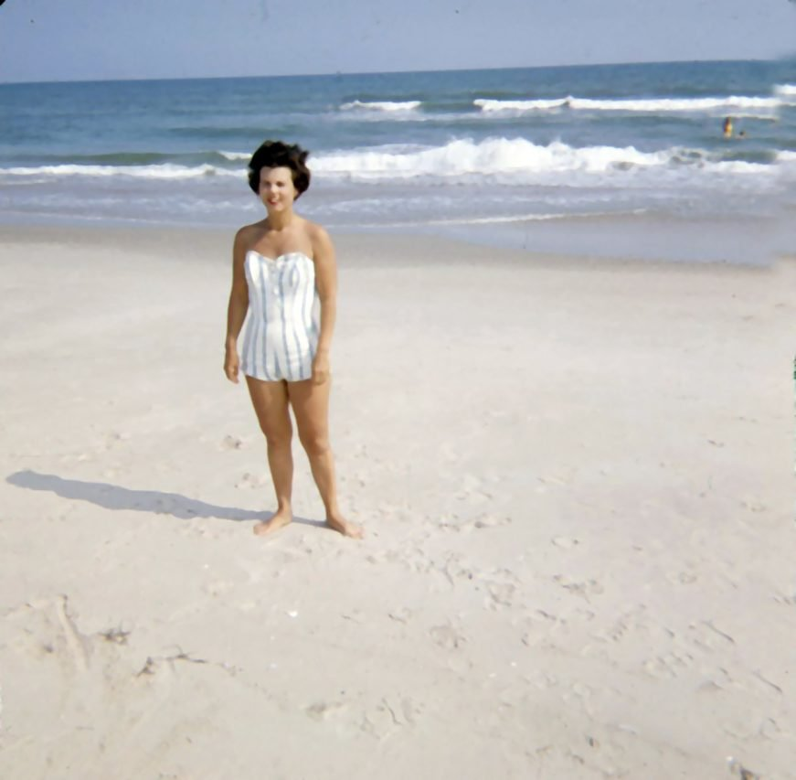 My mom on the beach, North Carolina, 1960s