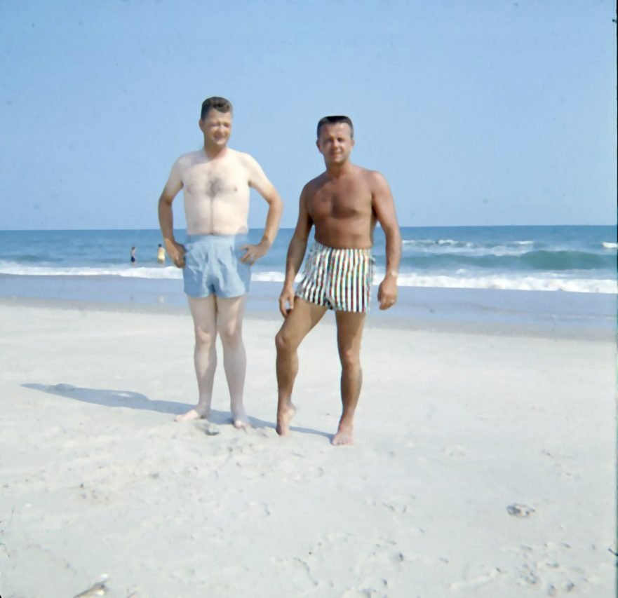 Brothers-in-law on the beach, North Carolina, 1960s